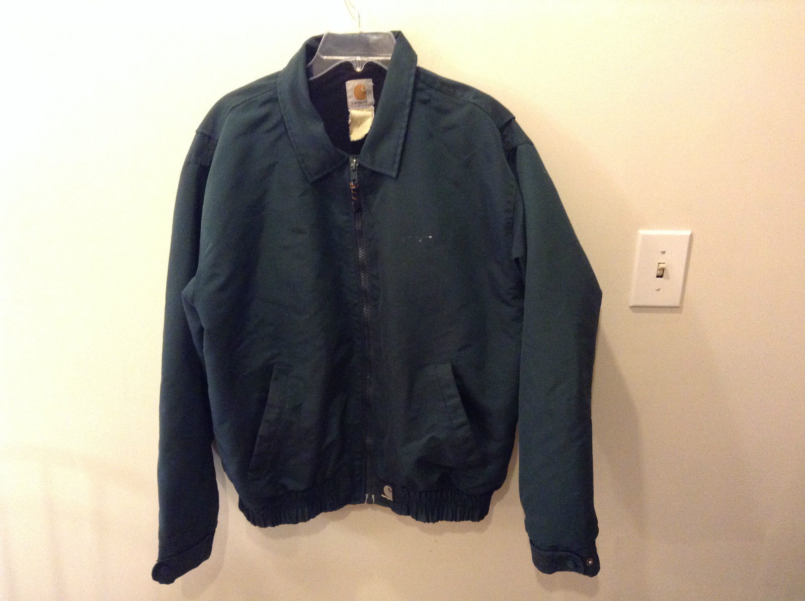 Green Carhartt Winter Coat Jacket Zipper Front No Size Tag Measurements Below