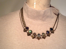 Gold Tone with Swarovski Crystal Tooth Necklace Multi Color Crystals Prudence Cz image 3