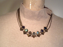 Gold Tone with Swarovski Crystal Tooth Necklace Multi Color Crystals Prudence Cz image 4