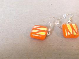 Gold Tone Orange Metallic Zig Zag Pattern Square Shaped Glass Dangling Earrings image 3