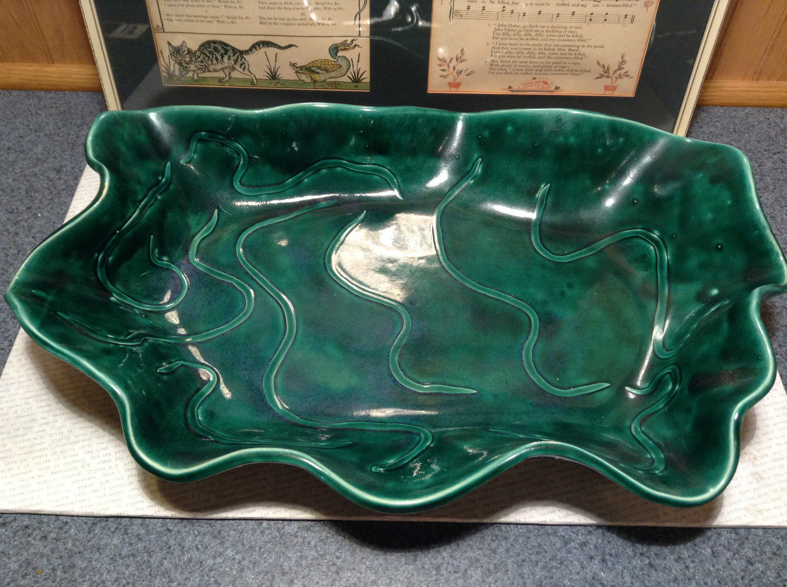 Green Decorative Handmade Large Serving Tray Wavy Edge Squiggly Designs