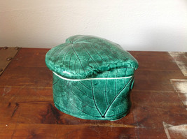Green Grape Leaf Shaped Hand Crafted Artisan Ceramic Jar Trinket Box 2009 - $39.59