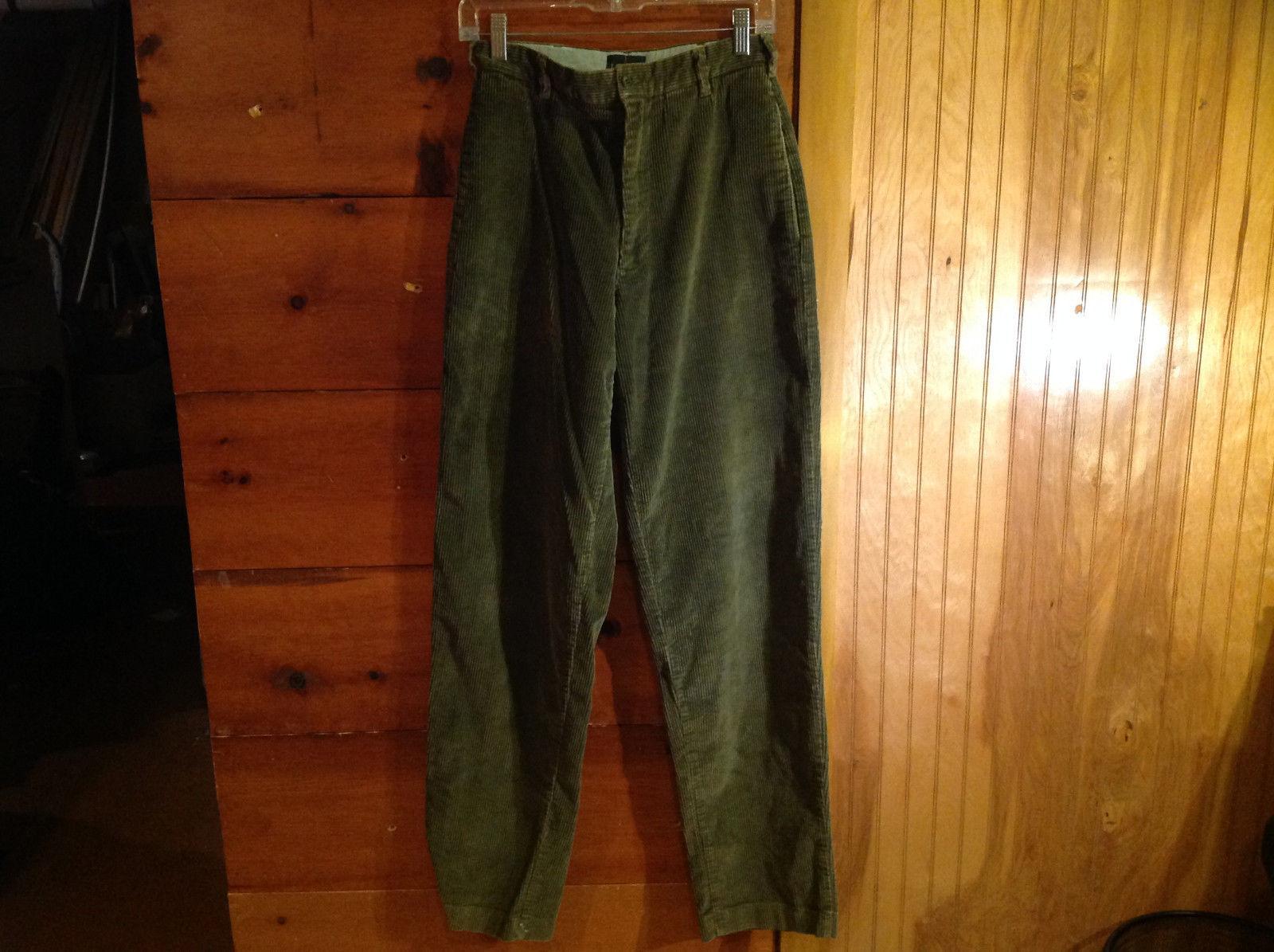 Green Corduroy Four Pocket Pants by J Crew Button Zipper Closure Size 28