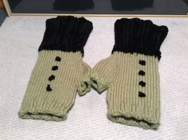 Green Black Fuzzy Woven Gloves Fingerless Very Soft Black Portion Hand Knitted image 1