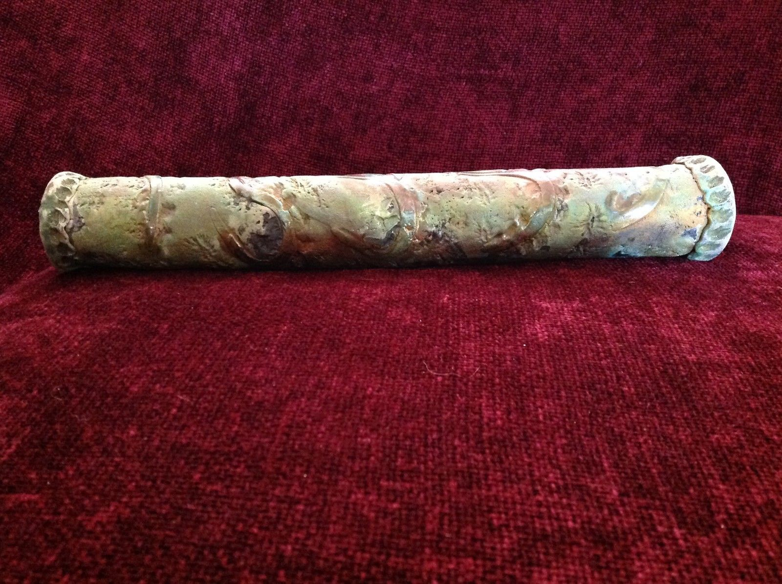 Green Handmade Raku Ceramic Rain Stick Intricate Designs 14 Inches Long