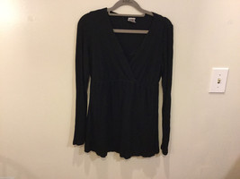Japanese Weekend (JW) Maternity Black Stretchy Long Sleeve Blouse, Size L image 1