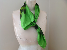 Green Dark Green Checkered Design Square Scarf Silk Like Material NO TAG