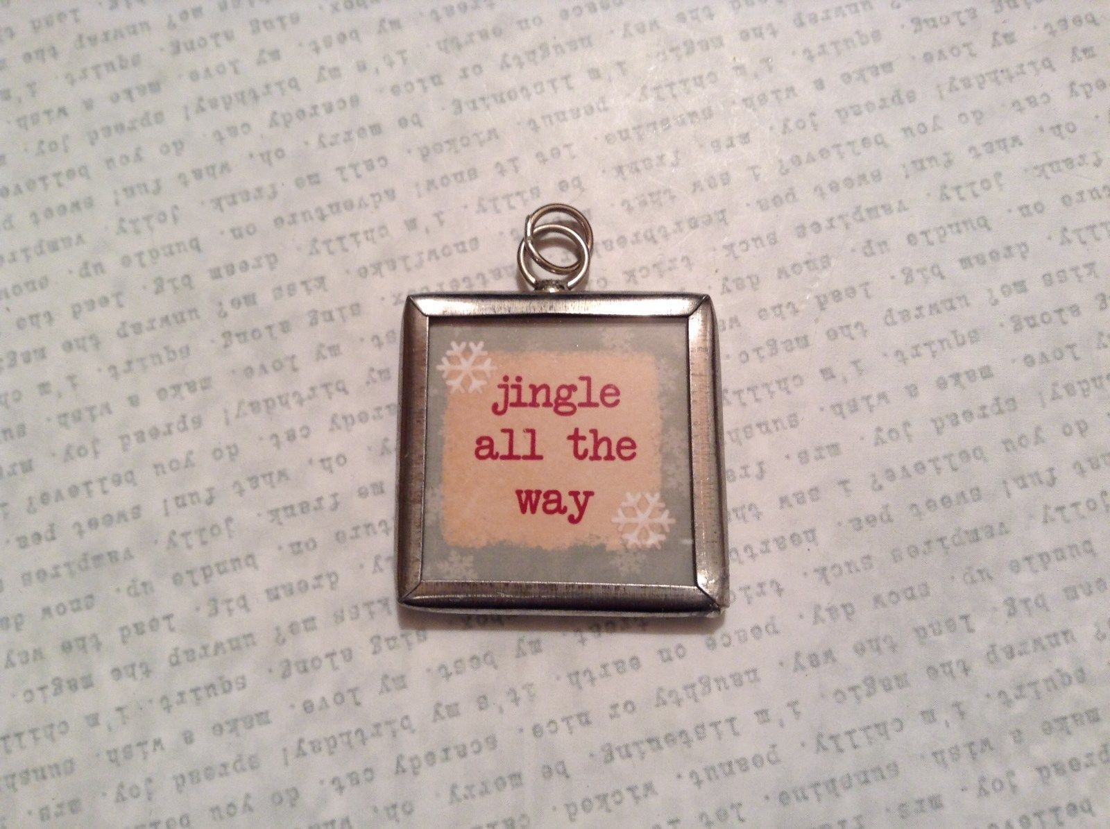 Jingle Jingle Charm Present Tie On Versatile Reversible Tag Metal Glass Tag