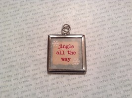 Jingle Jingle Charm Present Tie On Versatile Reversible Tag Metal Glass Tag image 1