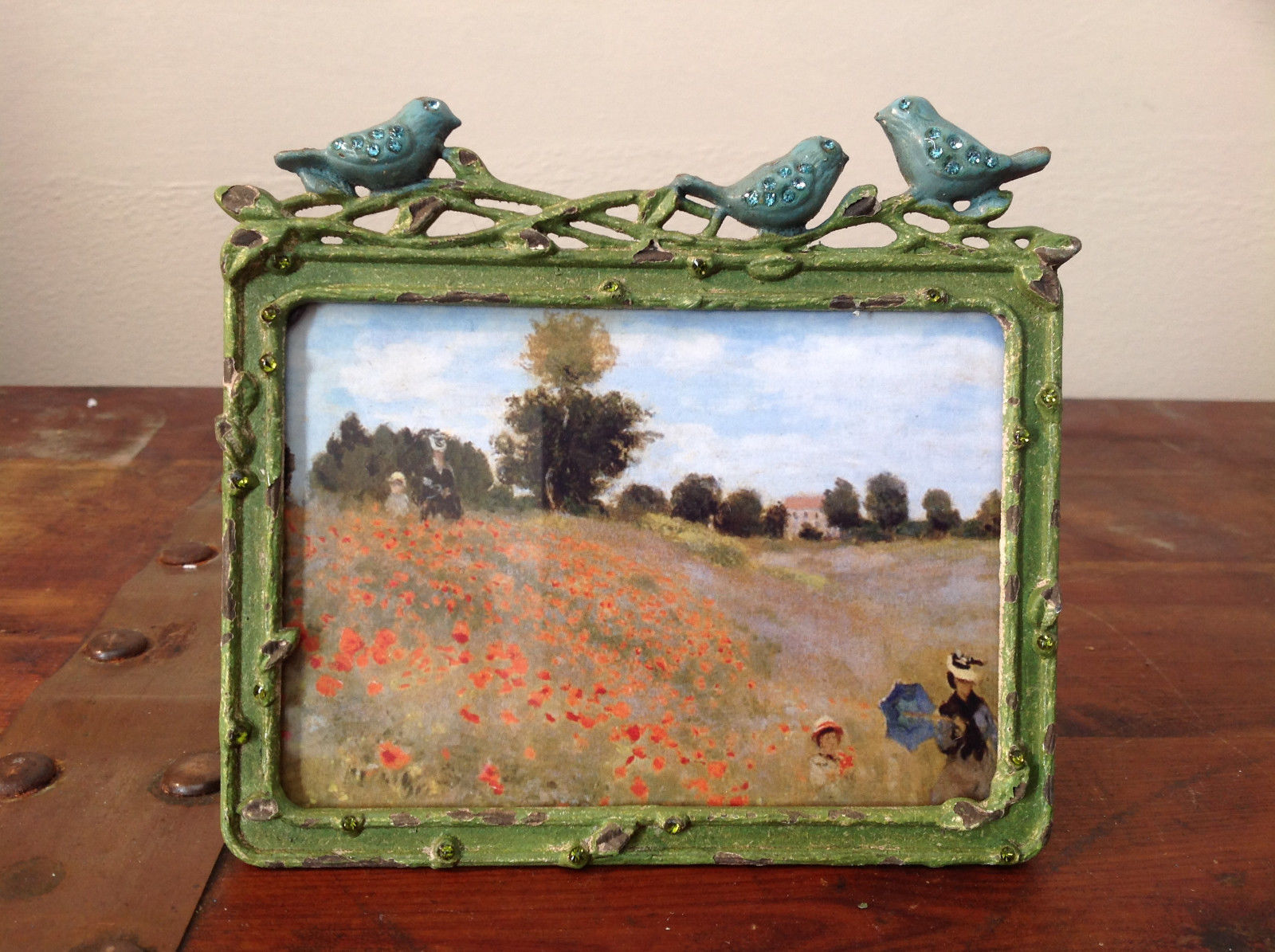 Green Metal Antiqued Blue Bird Decorated Photo Frame Jewel Accented
