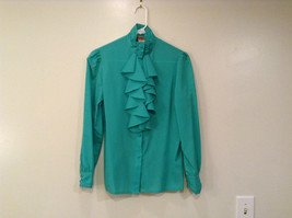 Green Long Sleeve Button Up Front Casual Corner Blouse Ruffles on Front Size 5