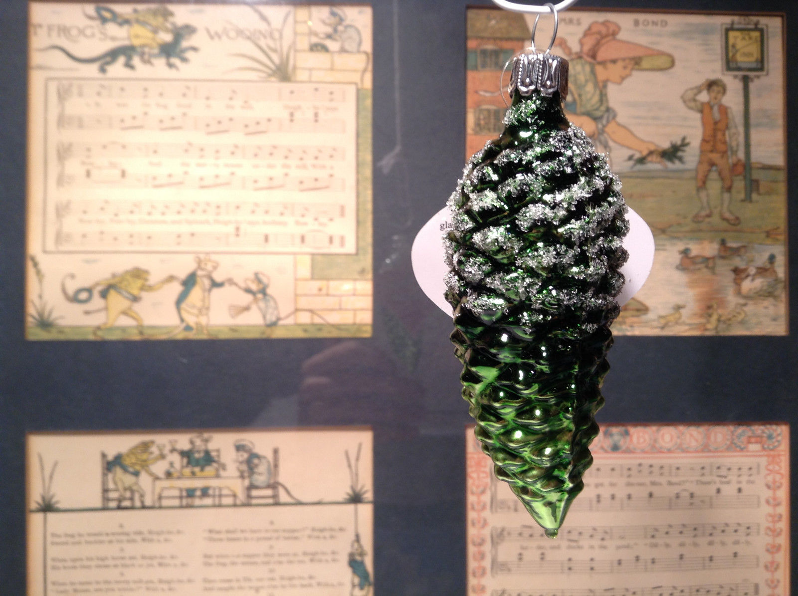 Green Pine Cone Hand Blown Glass Ornament Holiday Tree Old German Christmas