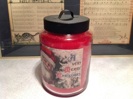 A Very Merry Christmas Peppermint Jar Candle Approximately Six Inches High image 2