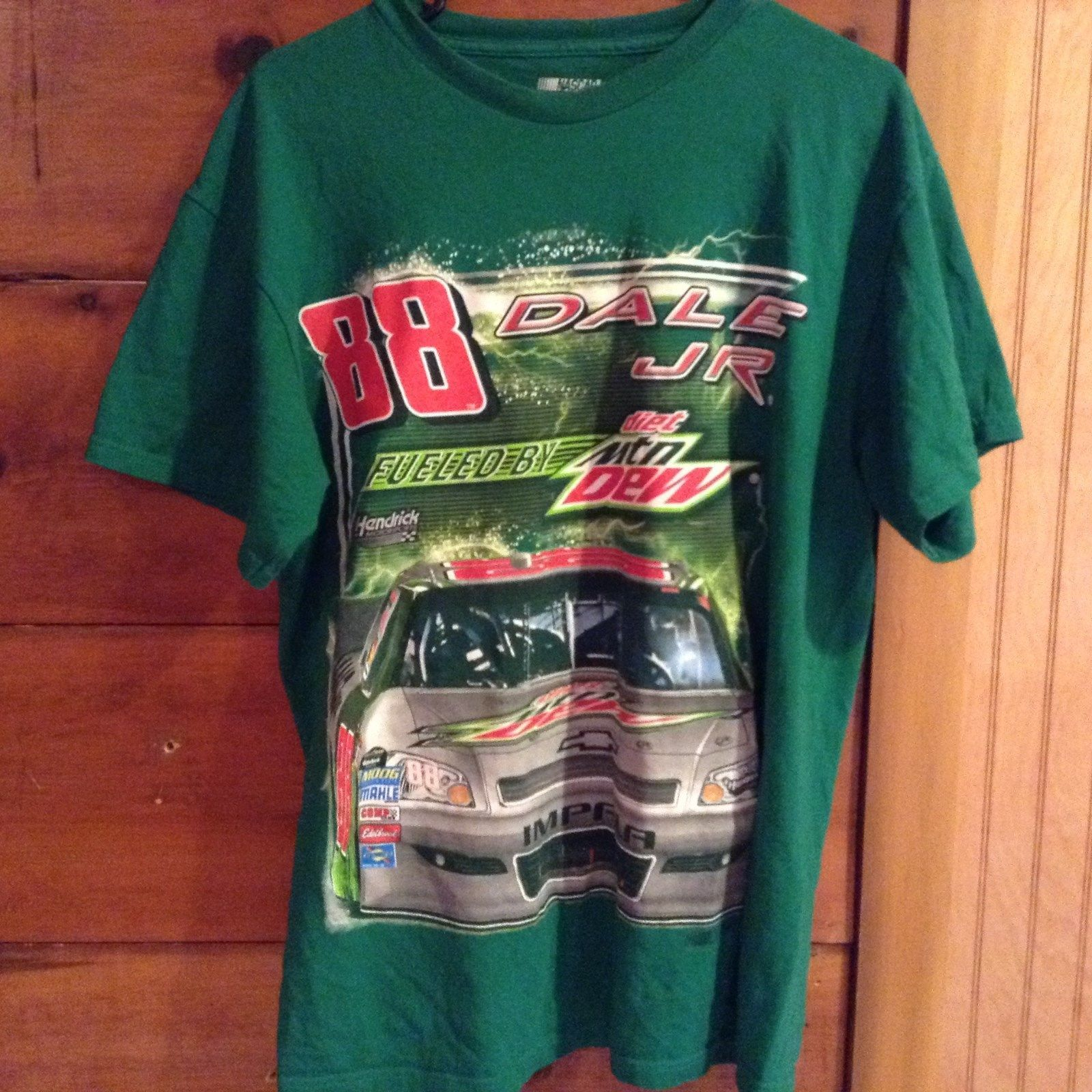 Green Short Sleeve Diet Mtn Dew Nascar Number 88 Dale Jr T Shirt Size Large