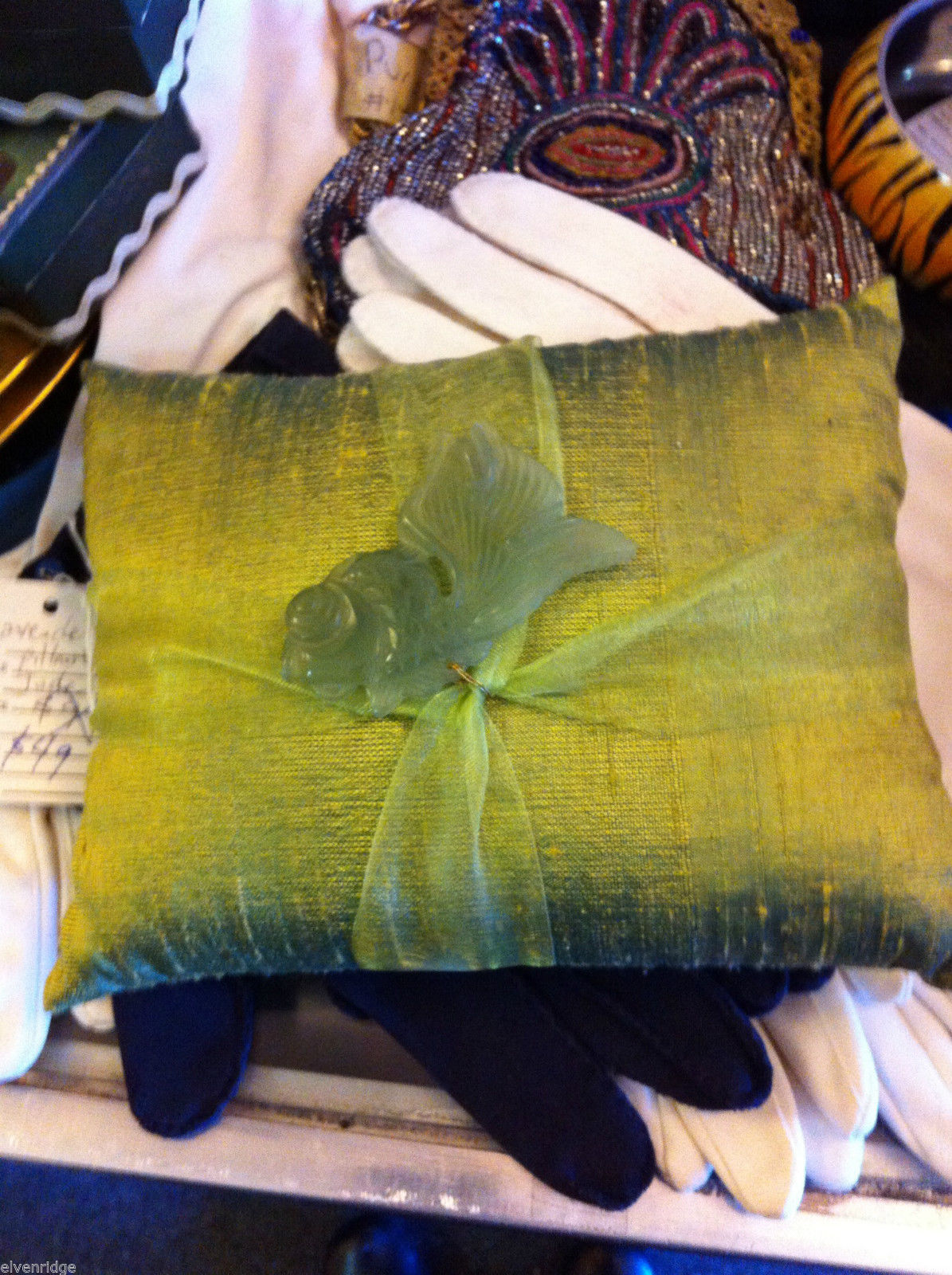 Green Raw Silk pillow sachet with lavender and green koi fish jade jewel