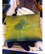 Green Raw Silk pillow sachet with lavender and green koi fish jade jewel - $148.49