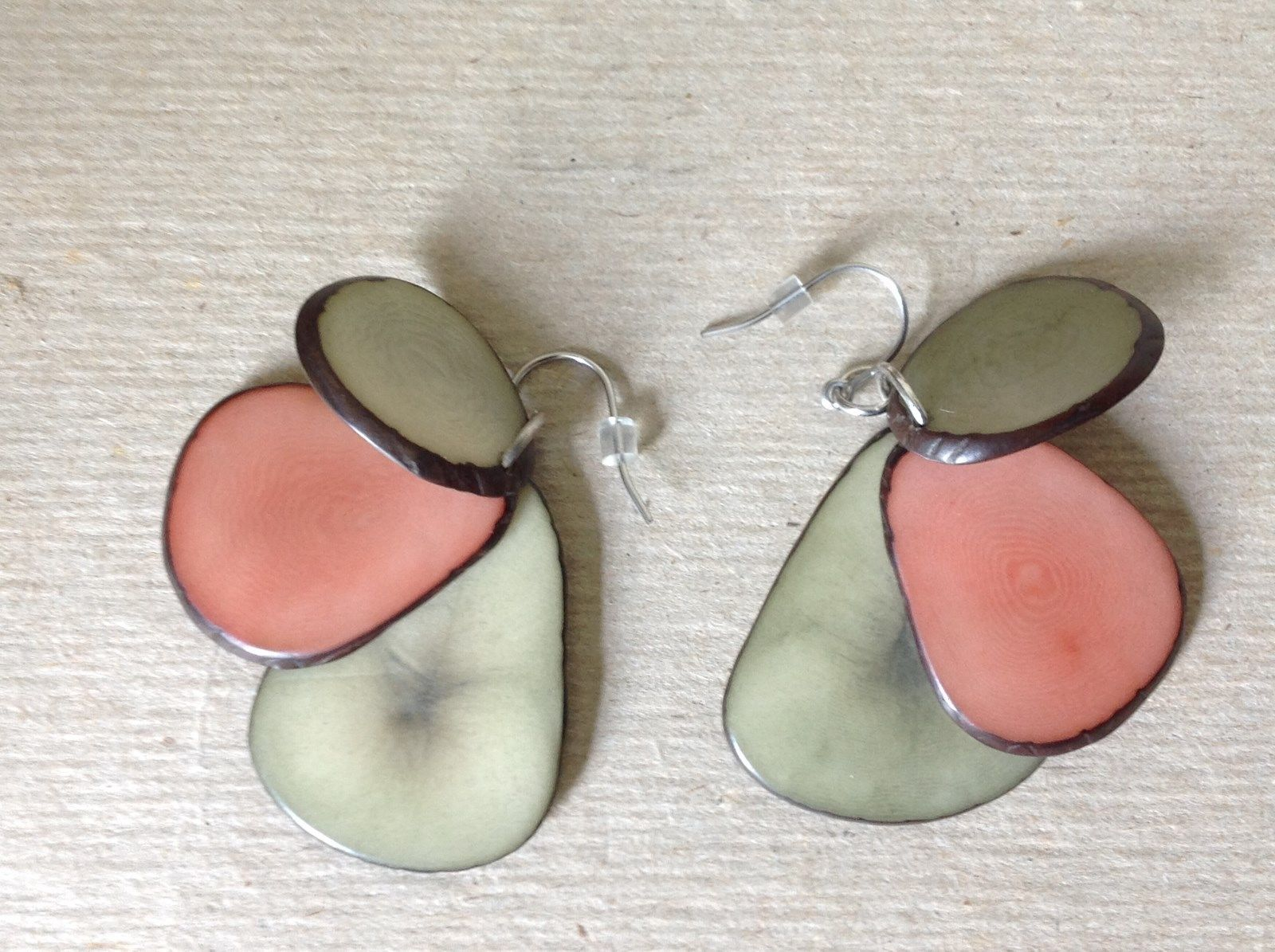 Green Pink 3 Element Flat Tagua dyed Handmade Dangling Earrings