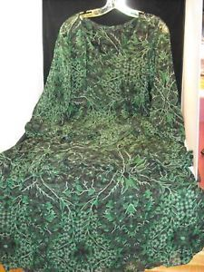 Green Sheer Patterned Tiered Dress floral pattern