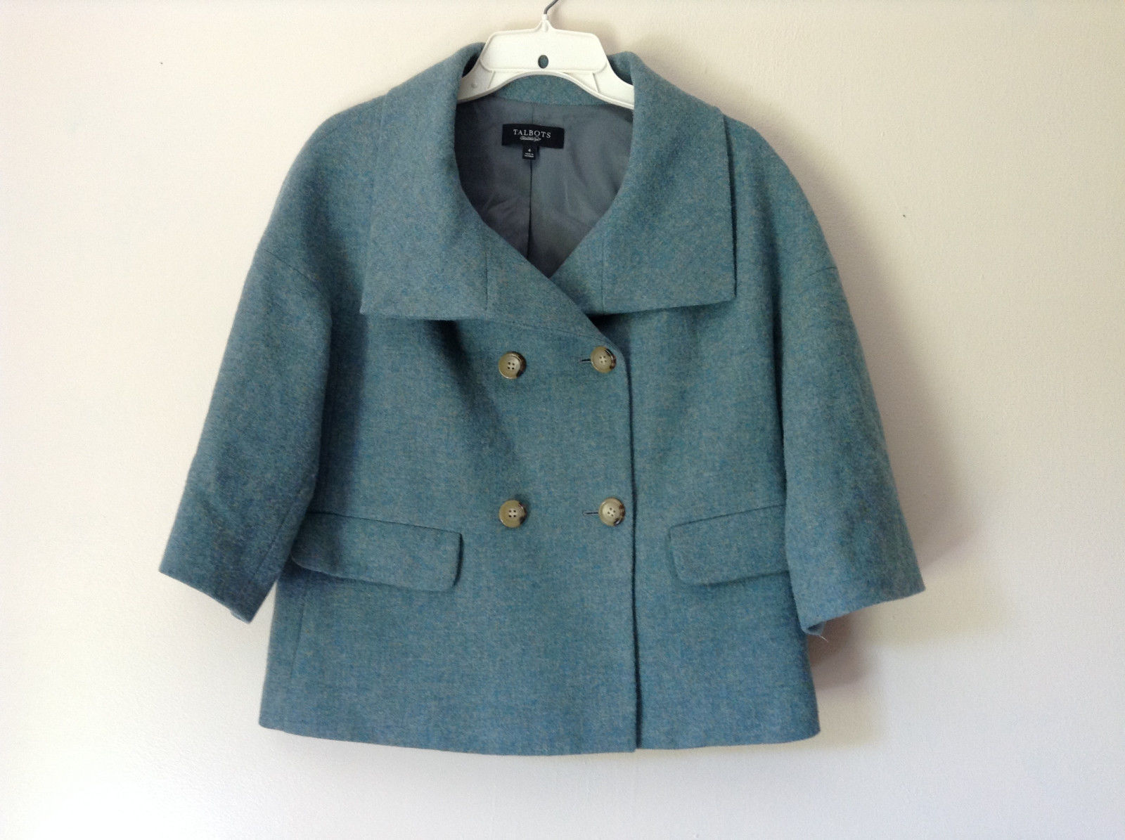Green Three Quarter Length Sleeves Blazer Jacket from Talbots Size 4