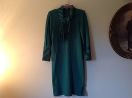 Green Striped Cuff and Attached Scarf Sweater Dress Zipper in Front No Name Tag