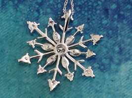 Gorgeous Sterling Silver Diamond Accent Snowflake Necklace Chain 18 Inches NIB image 6