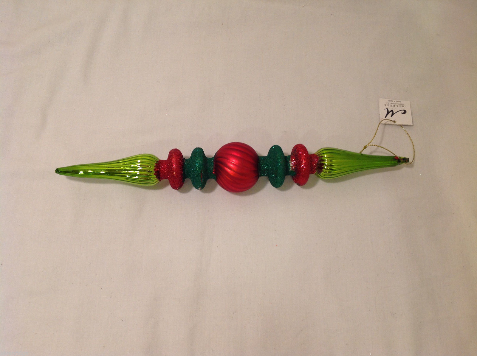 Green and Red Blown Glass Long Finial Christmas Ornament with Sparkles