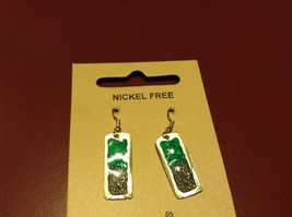 Green and Gray Abstract Bar Glossy Finish Pewter and Enamel Handcrafted Earrings