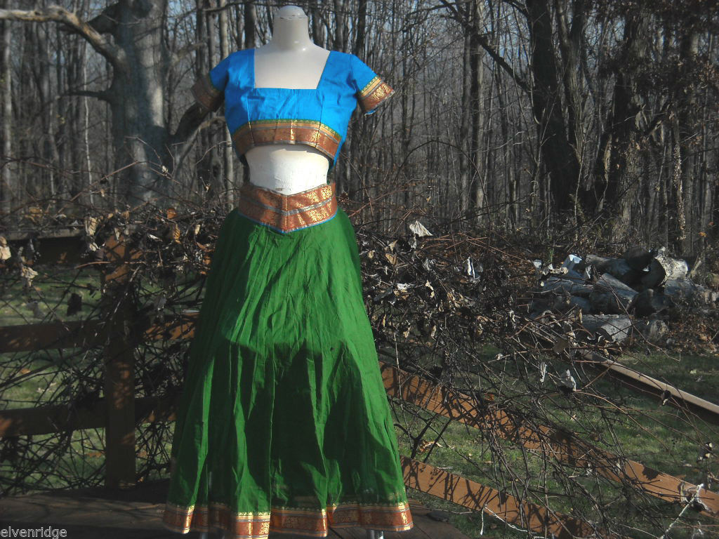 Green and Teal Indian Gopi Skirt Set Size Small