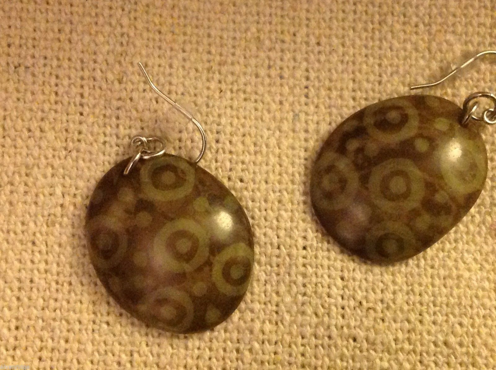 Green & cocoa batik pattern sustainable Tagua earrings women's work Columbia