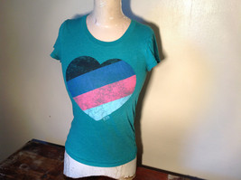 Green Victorias Secret Heart on Front T-Shirt Love Sweet Love on Back Size Small