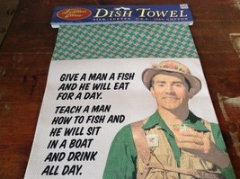 Green and Brown Fiddlers Elbow Dish Towel with Fishing Joke Made in USA