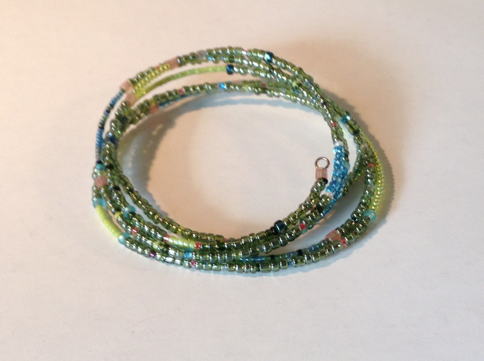 Green and Blue Shiny Beaded Adjustable Size Coil Bracelet