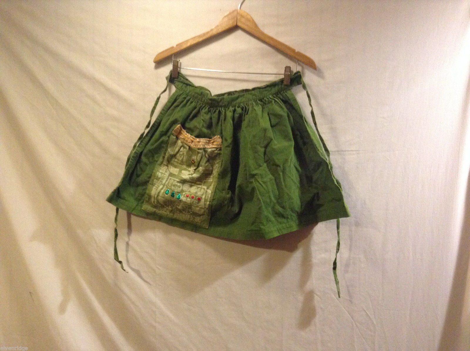 Green corduroy Mini Skirt or apron with front pocket gold stitching gems no size