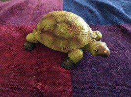 Green and brown garden turtle small weathered look  5 inches long