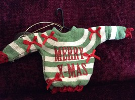 Green and White Striped Merry Christmas Ugly Sweater Ornament Red Bows Red Trim