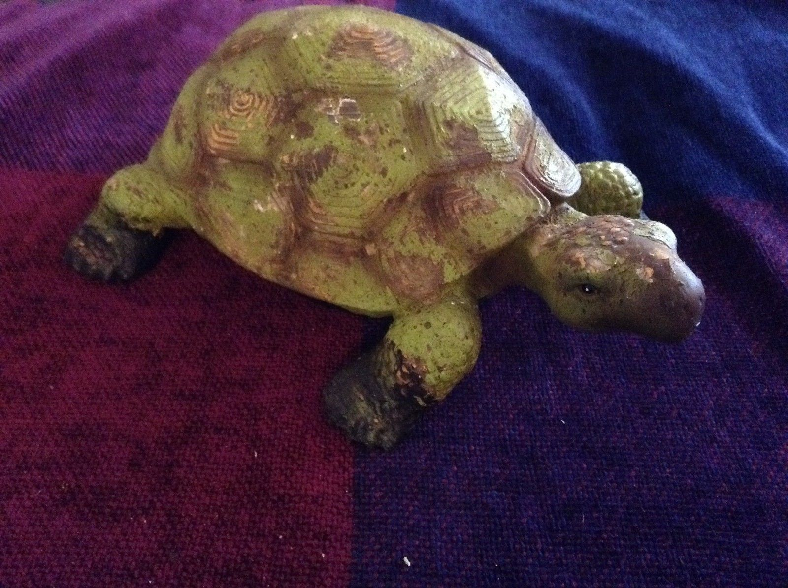 Green and brown garden turtle small weathered look  9.25 inches long