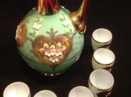 Green white layered glass hand painted flower gold Czech tea or chocolate set