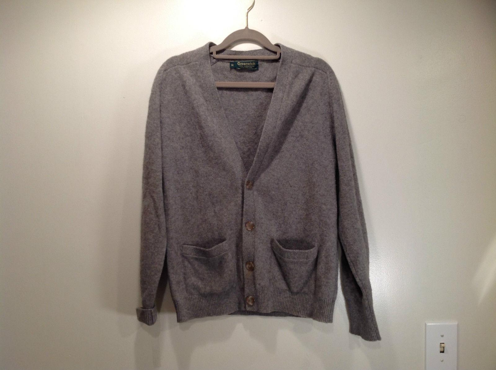 Greenwich 100 Percent Lambs Wool Gray Cardigan Size M Soft Fuzzy Fabric