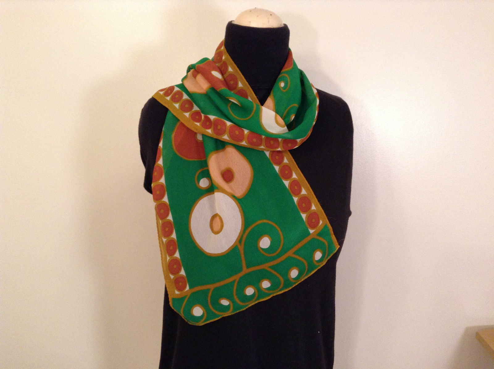 Green with Tan Brown and White Circles Scarf 100 Percent Polyester