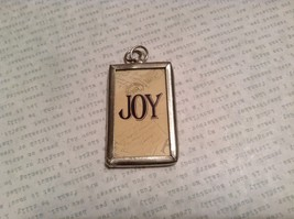 Joy and Santa Charm Present Tie On Versatile Reversible Tag Metal Glass Tag