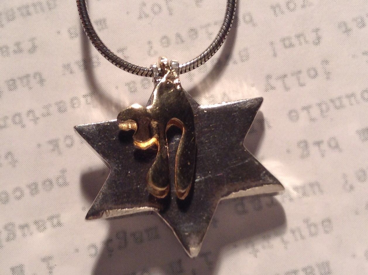 Judaica Sterling Silver Star of David Secret Garnet Gold Plated Bird Necklace