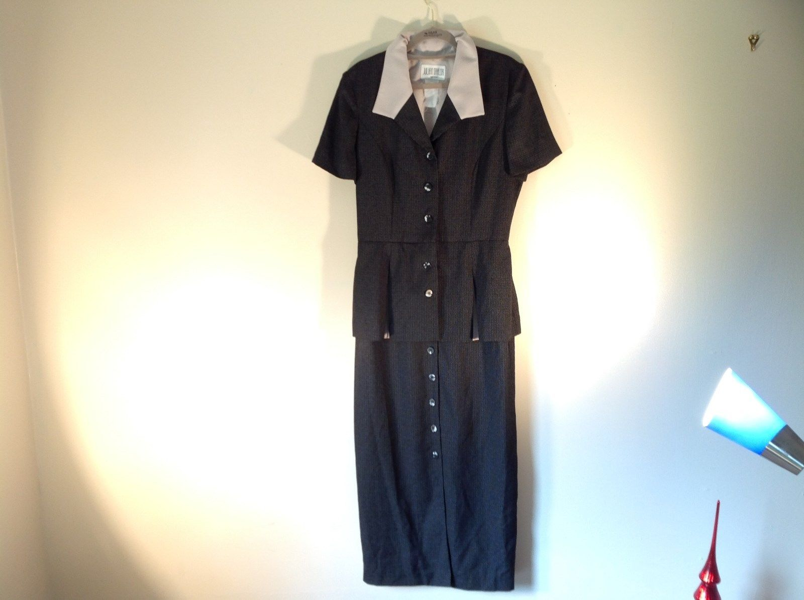 Julian Taylor Long Black Dress with Short Sleeve Jacket Attached One Piece