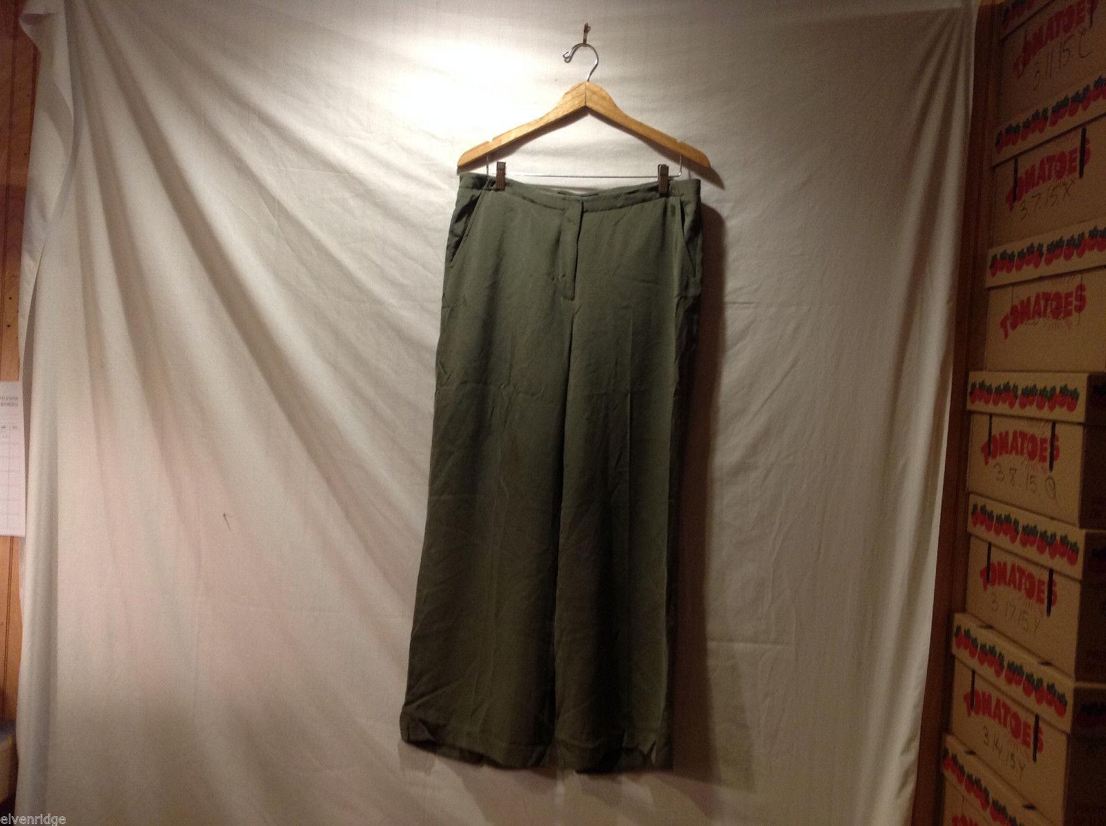Josephine Chaus Olive Green Wide Legged 100% Silk Dress Pants, Size 16