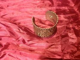 Gorgeous silver colored bracelet vintage aluminum engraved cuff image 2