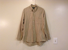 Joseph and Lyman Long Sleeve Button Front Beige Shirt Herringbone Pattern Size S