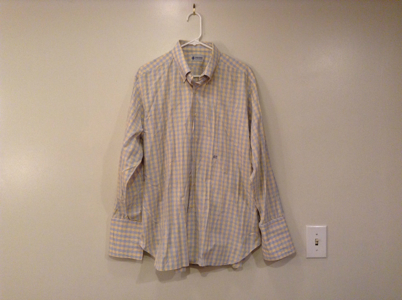 Joseph Robert Clothier Long Sleeve Dress Shirt Yellow Blue Plaid Pattern No Tags
