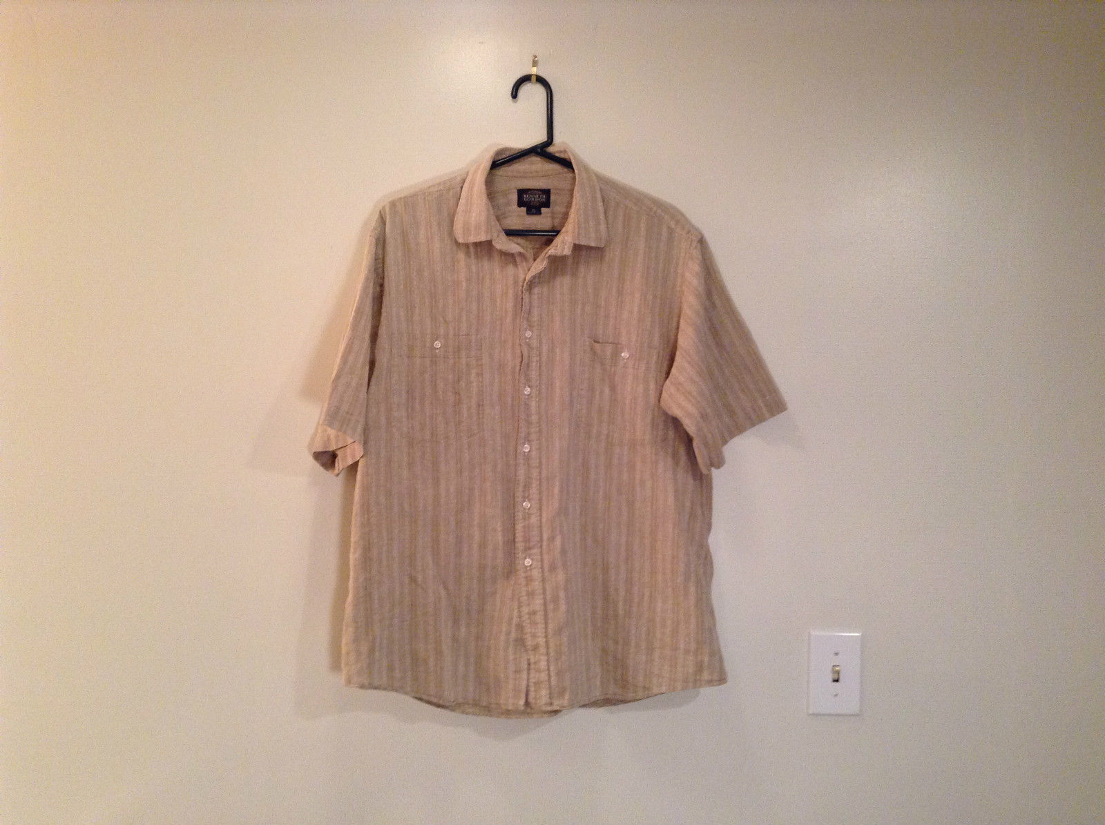 Kenneth Gordon Size XL Short Sleeve Tan Beige with Light Striped Pattern Shirt