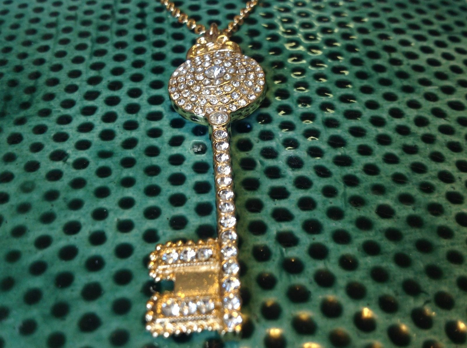 Key with Stones Gold Tone Sorrelli Pendant Necklace Antique Inspired
