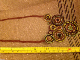 Guatemala women's greens  hand beaded crocheted macrame necklace #2
