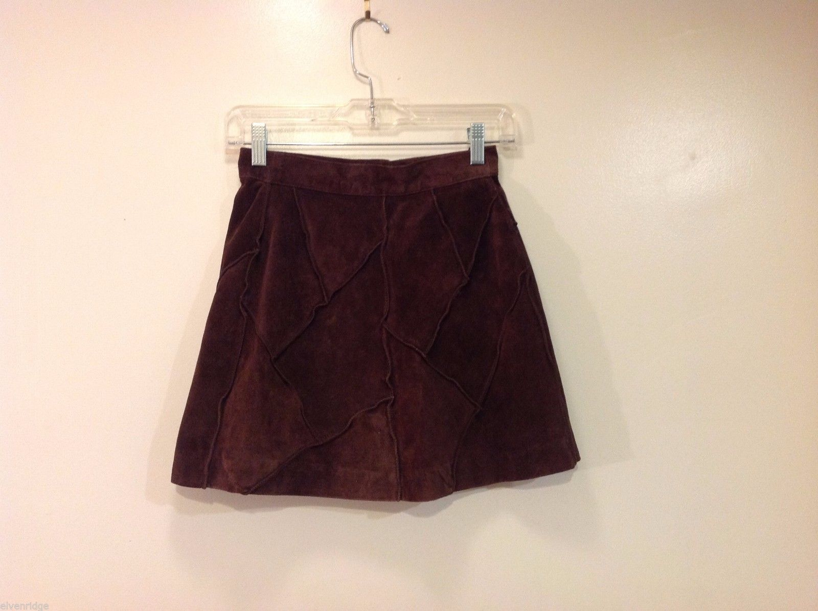 Guess Suede Genuine Leather Dark Brown Skirt Size 3 Decorative Stitching